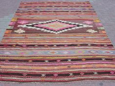 "MODERN Bohemian Turkish Kilim Rug Carpet, Handwoven Kelim Rug,Antique Kilim Rug,Decorative Kilim, Natural Wool 78,7"" X 111"""