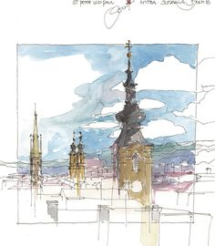 Nitra, view from the castle hill, SVK Watercolor Journal, Watercolor Sketch, Watercolor Architecture, Art And Architecture, Gcse Art Sketchbook, Sketchbooks, Sketching Techniques, Urban Sketchers, Sketchbook Inspiration