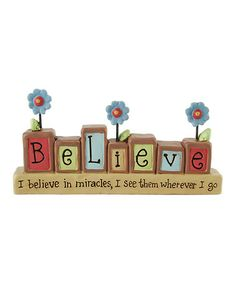 Loving this 'Believe in Miracles' Block Sign on #zulily! #zulilyfinds
