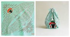 A fun and adorable, contemporary twist on the furoshiki (風呂敷), a traditional wrapping cloth that's been around in Japan since the With a few simple folds these unique furoshiki transfo Furoshiki, Packaging Design, Monkey, Cool Designs, Objects, Wraps, Artwork, Animals, Images