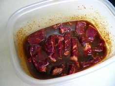 Korean Meat (Spicy or Non-Spicy) – This is more than just a marinade recipe. It is a recipe for Korean BBQ beef. The ingredients and method both seem easy and call for easily obtained things that you probably have in your pantry if you cook Oriental food. Spicy Recipes, Meat Recipes, Asian Recipes, Cooking Recipes, Sushi Recipes, Cooking Ideas, Free Recipes, Vegetarian Recipes, Steak Marinade Recipes