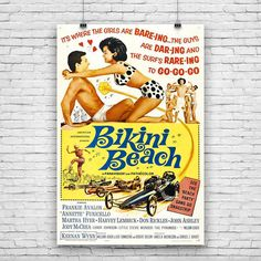 "Bikini Beach, Frankie Avalon, Annette Funicello, 1964 American Teen Film, Movie Print Poster - 12""x18"""