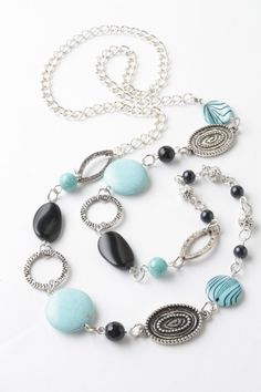 black and blue long necklace - turquoise - onyx - asymmetric necklace - black and blue jewelry - gypsy jewelry on Etsy, $33.17