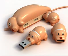This witty product is a perfect tech accessory for animal lovers everywhere! Cat Buddy (blue), Dog Buddy (tan), and even Pig Buddy (pink) USB hubs by the crafty stylings of We Play God. The cat and dog USB hubs lie on their sides but the pig (being lazier) lies flat on its prodigious belly. When plugged into her offsprings, the mother hub looks as if she is feeding her baby flash drives. Cute!
