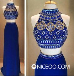 gorgeous royal blue Two Piece Round Neck floor-length chiffon prom dresses with Beaded