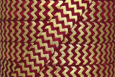 """Fold Over Elastic - Craft Supplies by Couture Craft Supply - Wine/Gold Metallic Chevron 5/8"""" Fold Over Elastic"""