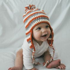 Orange, white, and gray stripes crochet baby hat with ear flaps, braids & pom pom - Made to order just for you!!!    Great for keeping your little