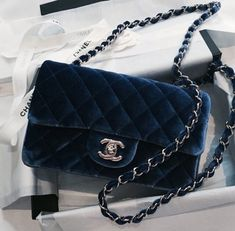 Blue suede - chanel boy bag