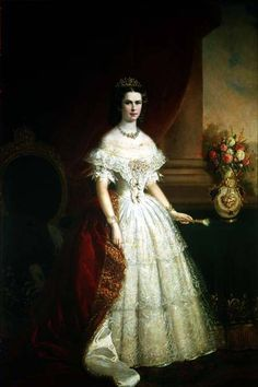 "Formal Portrait by unknown artist of Empress Elisabeth ""Sissi"" (Elisabeth Amalie Eugenie) (24 Dec 1837-10 Sep 1898) Bavaria at age 17 in court dress. Sissi was the wife of Emperor Franz Joseph I (18 Aug 1830-21 Nov 1916) Austria."