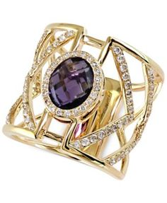 Geo EFFY Diamond (5/8 ct. t.w.) and Amethyst Ring (2-7/8 ct. t.w.) in 14k Gold