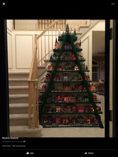 Christmas Decorations DIY Christmas Village Tree made with a Ladder… Ladder Christmas Tree, Noel Christmas, Christmas Projects, Winter Christmas, Christmas Tree Decorations, Vintage Christmas, Xmas Tree, Christmas Ideas, Victorian Christmas