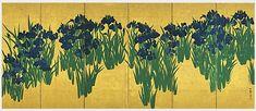 Ogata Korin《燕子花図屏風(右隻)》 尾形光琳筆 日本・江戸時代 18世紀 根津美術館蔵