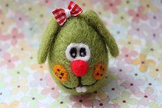 Needle Felted Easter Egg Bunny - Pisanka z Filcu