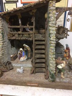 Brancaleoni - The Gift of Peace - Nativity scenes and Dioramas - Oscar Wallin Christmas Crib Ideas, Christmas Home, Christmas Decorations, Xmas, Ship In Bottle, Nativity Stable, Mud House, Hamster House, Christmas Nativity Scene