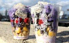 <p>Halo halo is a Filipino dessert consisting of a scoop of ube (purple yam) ice cream served with granola, fresh berries, mango, mung beans, tapioca pearls, granola, jackfruit, toasted coconut flakes, and sweet coconut milk sauce. </p>