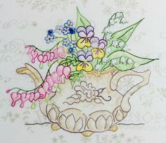 Crab Apple Hill Studio * Hand Embroidery DIY Inspiration * Floral Teapot Fabulousness! Embroidery Project, Quilt Block or Paper Piecing