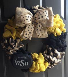 "Wichita State University - 22"" wreath   Facebook.com/burlapandbarnwoodhomedecor  #burlap #wreath #wichitastate #wsu"