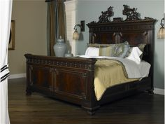 Maitland-Smith Bedroom Corsair Finished Mahogany King Bed With Gilded Accents 6330-151