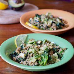 Quinoa with Zucchini, Kale, Pesto, Walnuts and Avocado {Gluten-Free, Vegan} - avocadopesto