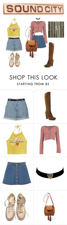 """dancin down the sunset strip"" by urmypoison ❤ liked on Polyvore featuring Hardy Design Works, Wet Seal, Monki, Converse, See by Chloé, Crystal Art and vintage"