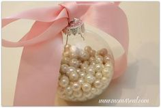 Pearls in a Glass Ornament DIY