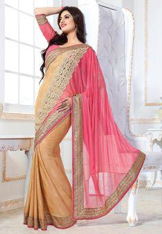 #Pink  #Saree with Blouse