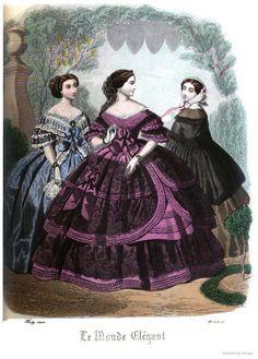 Victorian Era Fashion, 1850s Fashion, Victorian Women, Victorian Dresses, Civil War Fashion, Civil War Dress, Fashion Illustration Vintage, Princess Ball Gowns, 19th Century Fashion