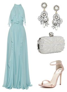 A fashion look from October 2016 featuring long dresses, high heel shoes and man bag. Browse and shop related looks. Classy Outfits, Chic Outfits, Pretty Dresses, Beautiful Dresses, Cute Christmas Outfits, Casual Dresses, Fashion Dresses, Party Dress Outfits, Inspiration Mode