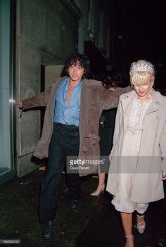 Australian singer and songwriter Michael Hutchence (1960 - 1997) and British television presenter Paula Yates (1959 - 2000) leaving L'Equipe Anglaise nightclub in Duke Street, London, 6th January 1996.