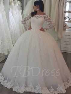 Tbdress.com offers high quality Off-the-Shoulder Long Sleeves Lace Appliques Ball Gown Wedding Dress Latest Wedding Dresses unit price of $ 194.99.