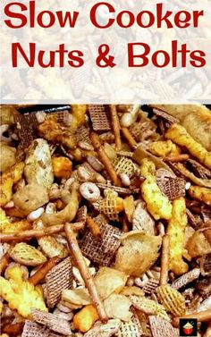 Slow Cooker Nuts and Bolts.A very easy and flexible recipe, adjust according to your taste, and add different seasonings and ingredients.Lots of flavor suggestions in the recipe Snack Mix Recipes, Nut Recipes, Easy Dinner Recipes, Appetizer Recipes, Crockpot Recipes, Cooking Recipes, Snack Mixes, Yummy Recipes