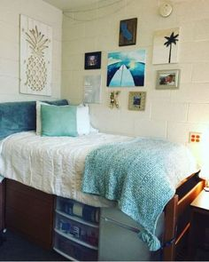 Dorm dorm ideas student college dorm life blue dorm tips adv Dorm Room Storage, Dorm Room Organization, Organization Ideas, Storage Ideas, Bed Storage, Storage Caddy, Dorm Themes, Dorm Decorations, Dorm Hacks