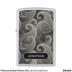 Platinum Paisley Pattern with Custom Name Zippo Lighter - A paisley pattern in shades of platinum gray personalized with your desired name or other text. Sold at DancingPelican on Zazzle.
