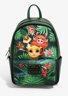 Loungefly Disney The Lion King Tropical Trio Mini Backpack - BoxLunch Exclusive Lion King Simba, Disney Lion King, Toy Story Slinky, Cute Mini Backpacks, Kids Backpacks, Disney Purse, Disney Handbags, Satchel Backpack, Le Roi Lion