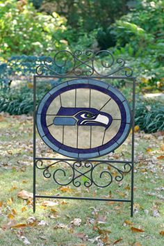 seahawks signs   | Seattle Seahawks NFL Stained Glass Outdoor Yard Sign