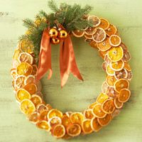 Fragrant Fruit Wreath  Turn dried oranges and lemons into a circle of refreshing color.