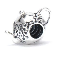 Bella Fascini Teapot - Afternoon Tea / Tea Party - Solid 925 Sterling Silver European Charm Bracelet Bead - Compatible Brands: Authentic Pandora, Chamilia, Moress, Troll, Ohm, Zable, Biagi, Kay's Charmed Memories, Kohl's, Persona & more!