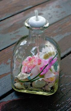 Oil Lamp - Recycled Patron Bottle Oil Lamp. Pretty in Pink! http://seasidesouvenirs.com/oil-lamps.php