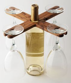 VinoCaddy - now designed for 4 wine glasses! This limited edition is made of up-cycled domestic chestnut, salvaged from Jackson Hall, UNC Chapel Hill - http://store/theproductfarm.com/