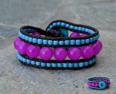 Handmade triple leather wrap bracelet with FIMO clay button #handmade #bracelet #beads #boho #FIMO #boho