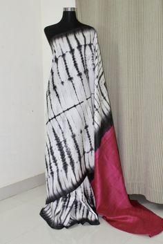Pure dupion raw silk shibori tie and dye saree