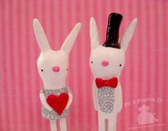 Cake Toppers - Bunny Love - Wedding Keepsakes - Original Paperclay Sculptures. PigAndPumpkin