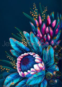 Australian artist Jess Hutchison, specialising in vibrant acrylic painting inspired by nature. Bright florals and Australian native birds painted in her signature style. Prints, stretched canvas prints and original paintings. Protea Art, Floral Prints, Art Prints, Australian Artists, Stretched Canvas Prints, Art Inspo, Flower Art, Nativity, Original Paintings
