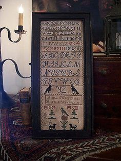 EARLY STYLED ~MARTHA HOPPING 1836~ CROSS STITCHED SAMPLER (LB)