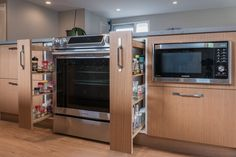 We love working with IKEA cabinets, because they're so flexible. Since IKEA allows their customers to buy all the cabinet parts separately, they can be put together in all kinds of configura… Pantry Rack, Pull Out Pantry, Ikea Kitchen, Kitchen Appliances, Kitchen Ideas, Pull Out Spice Rack, Ranch Kitchen, Ikea Cabinets, Staircase Design