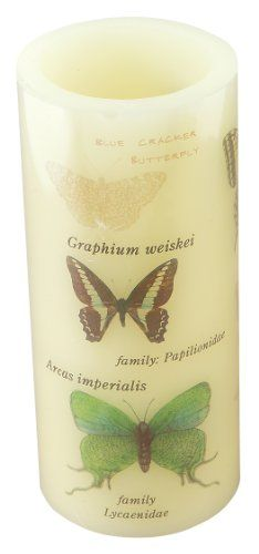 Melrose International 4-Inch by 9-Inch LED Candle with a Butterfly Pattern, Cream