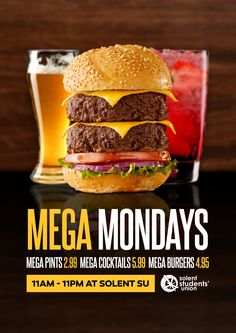 A promotional poster design created for a weekly deal at Solent Students' Union, making use of various stock images. The burger was originally just one patty high - Tags: Branding restaurant bar cafe diner kitchen logo food southampton graphic uk drink pub burger beer cocktail