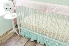 Aqua Ruffled Skirt Baby Bedding | Pink, Gold Crib Bedding - Jack and Jill Boutique