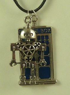 DR WHO LARGE TARDIS BLUE METAL NECKLACE w METAL ROBOT BLACK CORD MEN WOMEN