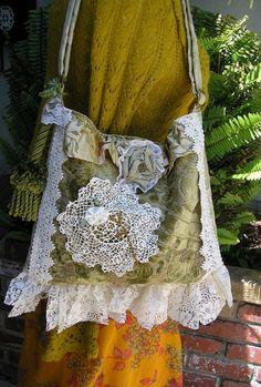 Gypsy Purse Victorian, velvet lace fabric bag, vintage doily, fou fou fancy baroque, handmade unique OOAK